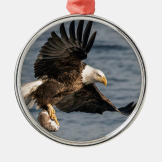 Bald Eagle Catching Food Metal Ornament