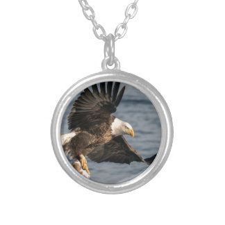 Bald Eagle Catching Food Silver Plated Necklace