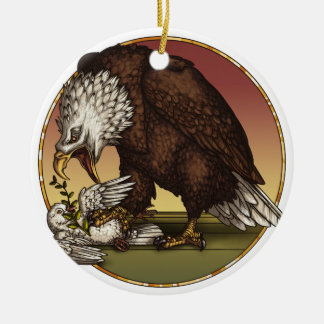 Bald eagle ceramic ornament