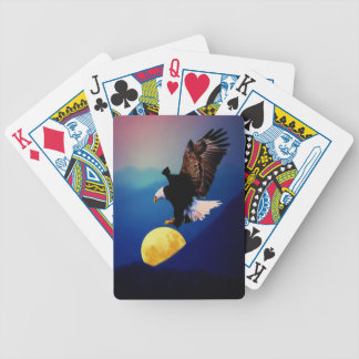 Bald eagle chases the full moon bicycle playing cards