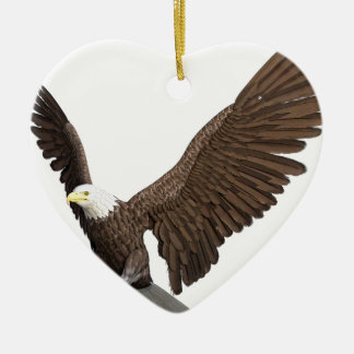 Bald Eagle Coming In For A Landing Ceramic Heart Ornament