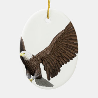 Bald Eagle Coming In For A Landing Ceramic Oval Ornament