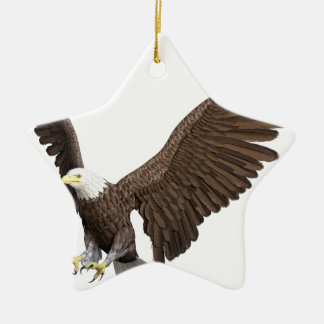 Bald Eagle Coming In For A Landing Ceramic Star Ornament