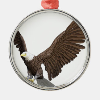 Bald Eagle Coming In For A Landing Silver-Colored Round Ornament