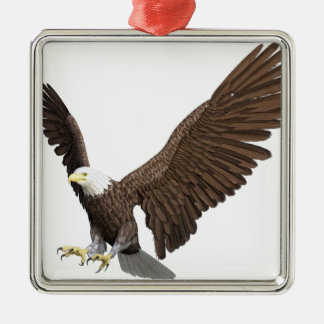 Bald Eagle Coming In For A Landing Silver-Colored Square Ornament