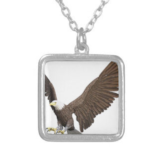 Bald Eagle Coming In For A Landing Silver Plated Necklace