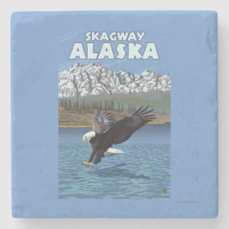 Bald Eagle Diving - Skagway, Alaska Stone Coaster