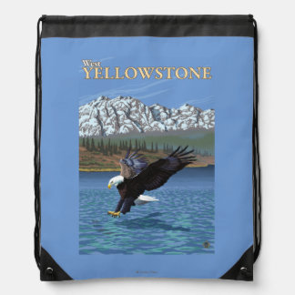 Bald Eagle Diving - West Yellowstone, MT Drawstring Backpack