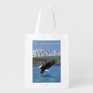 Bald Eagle Diving - West Yellowstone, MT Grocery Bag