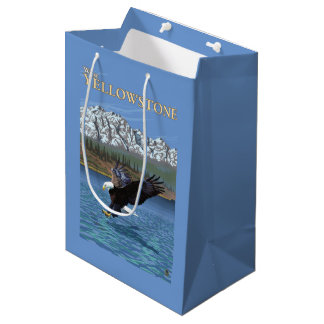 Bald Eagle Diving - West Yellowstone, MT Medium Gift Bag
