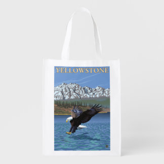 Bald Eagle Diving - Yellowstone National Park Grocery Bags