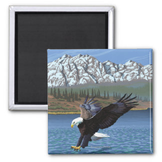 Bald Eagle Diving - Yellowstone National Park Magnet