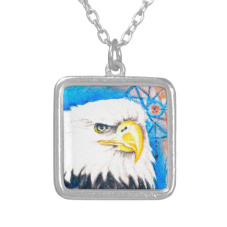 Bald Eagle Dreamcatcher Art Silver Plated Necklace