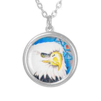 Bald Eagle Dreamcatcher Art Silver Plated Necklace