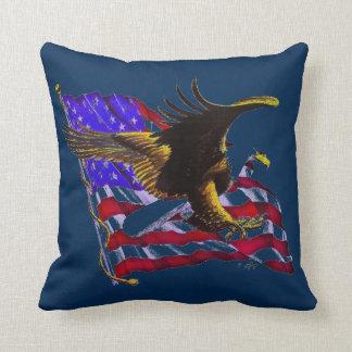 Bald Eagle & Flag Throw Pillow