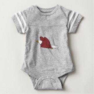 Bald Eagle Flying Cartoon Baby Bodysuit