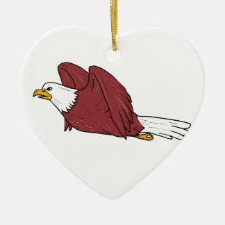 Bald Eagle Flying Cartoon Ceramic Ornament