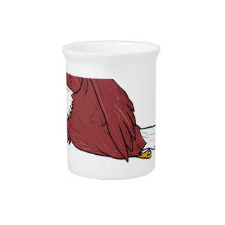 Bald Eagle Flying Cartoon Drink Pitcher
