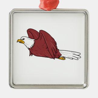 Bald Eagle Flying Cartoon Metal Ornament