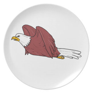 Bald Eagle Flying Cartoon Party Plate