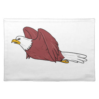 Bald Eagle Flying Cartoon Placemat