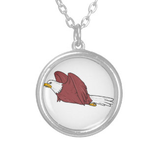 Bald Eagle Flying Cartoon Silver Plated Necklace