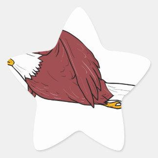 Bald Eagle Flying Cartoon Star Sticker
