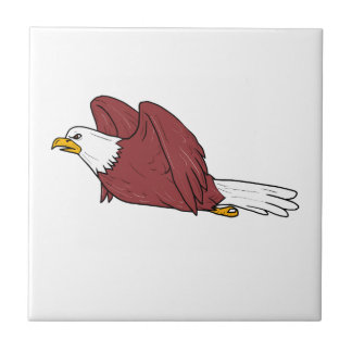 Bald Eagle Flying Cartoon Tile