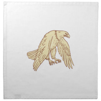 Bald Eagle Flying Wings Down Drawing Napkin
