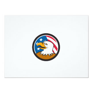 Bald Eagle Head Smiling USA Flag Circle Cartoon Card
