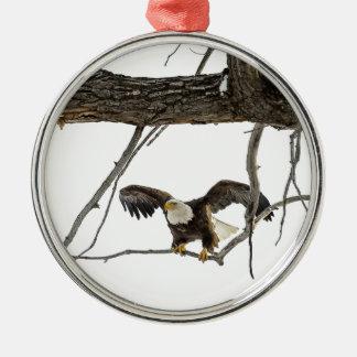 Bald Eagle in Flight Silver-Colored Round Ornament