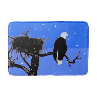 Bald Eagle in Winter Bath Mat