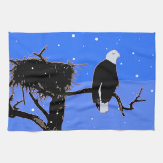 Bald Eagle in Winter Kitchen Towel