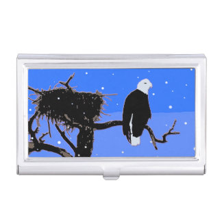 Bald Eagle in Winter  - Original Wildlife Art Business Card Holder