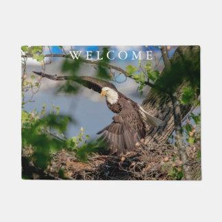 Bald Eagle leaving the nest Doormat