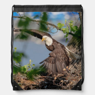 Bald Eagle leaving the nest Drawstring Bag