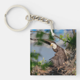 Bald Eagle leaving the nest Keychain