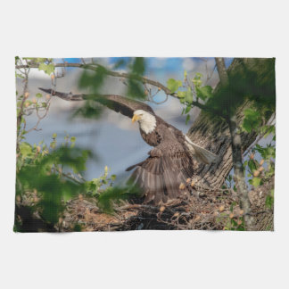 Bald Eagle leaving the nest Kitchen Towel