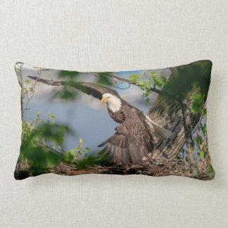 Bald Eagle leaving the nest Lumbar Pillow