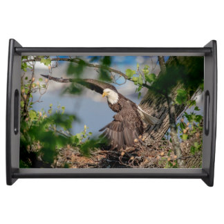Bald Eagle leaving the nest Serving Tray