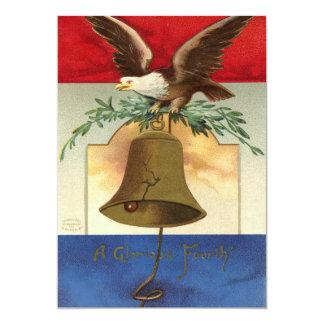 "bald eagle liberty bell patriotic vintage art 5"" x 7"" invitation card"