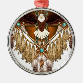 Bald Eagle Mandala - revised Silver-Colored Round Ornament