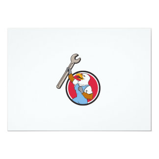 Bald Eagle Mechanic Spanner Circle Cartoon Card