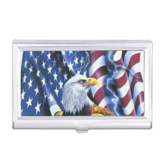 Bald Eagle on American Flag Lightening Business Card Holders