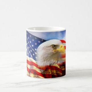 Bald Eagle on American Flag red white blue Classic White Coffee Mug