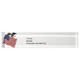 Bald Eagle on American Flag red white blue Desk Name Plate