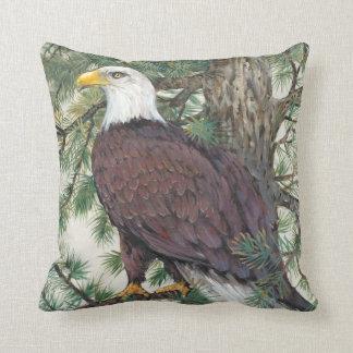 Bald Eagle on Branch Throw Pillow