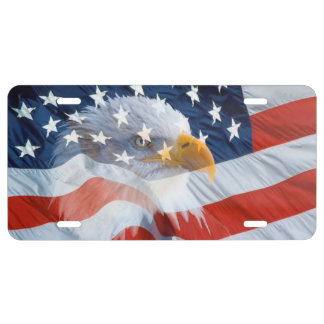 Bald Eagle On The American Flag License Plate