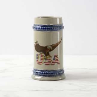 Bald eagle on the flag beer stein