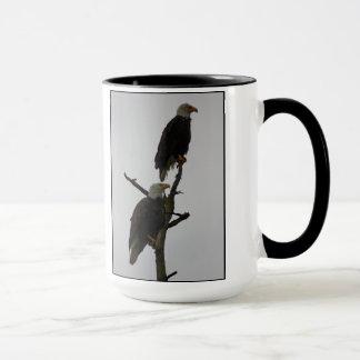 bald eagle pair in the rain mug